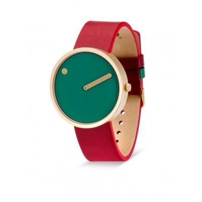 Picto horloge rood groen leer 40 mm.