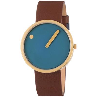 picto horloge blauw bruin