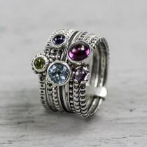 Ring set zilver kleurrijk gefaceteerd