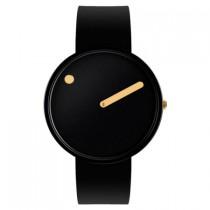 Picto horloge zwart goud  40 mm. silicone