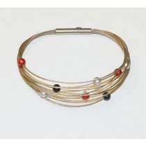 Step by Step armband zwart zilver rood