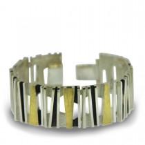 Zilveren armband met gouden plaatjes Audar