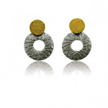 Oorbellen zilver rondjes met 18 karaat goud